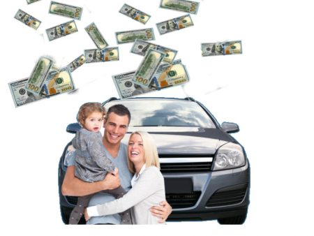 family in front of car and money falling down