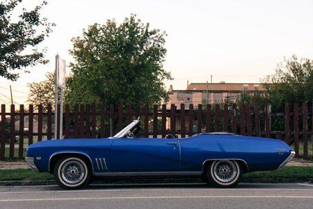 blue automobile parked