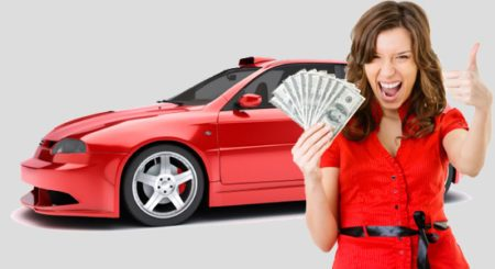 Woman holding cash giving thumbs up beside car